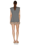 Grey Cotton Pleated Top