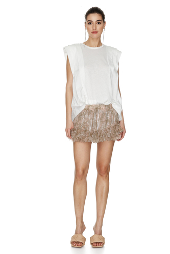 White Cotton Pleated Top - PNK Casual
