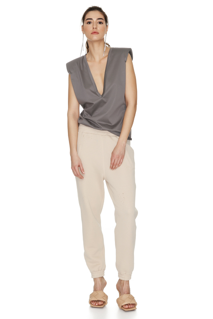Grey Neckline Top With Oversized Shoulders