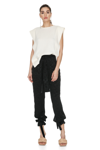 Off-White Cotton Top With Side Details - PNK Casual