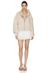 Long Sleeve Zipped Beige Cotton Hoodie