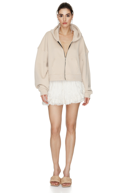Long Sleeve Zipped Beige Cotton Hoodie