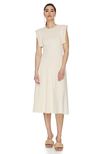 Off-White Cotton Dress With Detail On The Shoulders - PNK Casual
