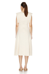 Off-White Cotton Dress With Detail On The Shoulders