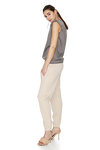 Beige Track Hand-Distressed Pants