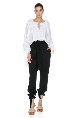 White Linen Blouse With Lace Insertions - PNK Casual