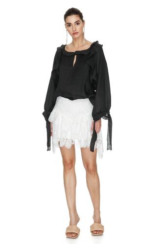 Black Oversize Linen Blouse - PNK Casual