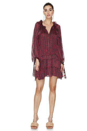 Burgundy Mini Dress With Ruffles And Long Sleeves - PNK Casual