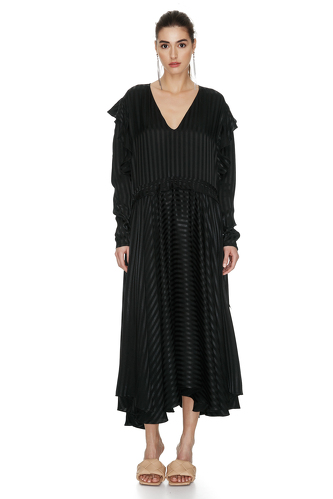 Black Midi Dress With Ruffles And Long Sleeves - PNK Casual
