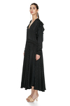 Black Midi Dress With Ruffles And Long Sleeves