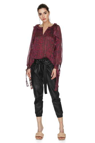 Burgundy Top With Ruffles And Long Sleeves - PNK Casual