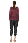 Burgundy Top With Ruffles And Long Sleeves