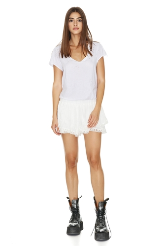 Cotton White Shorts With Cotton Lace Hem - PNK Casual