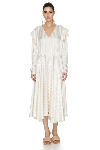Off-White Viscose Midi Dress With Long Sleeves - PNK Casual