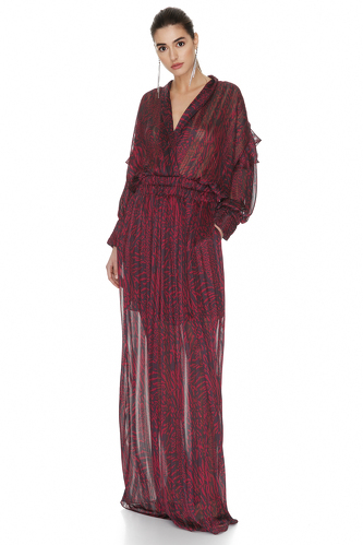 Burgundy Maxi Dress With Ruffles And Long Sleeves - PNK Casual