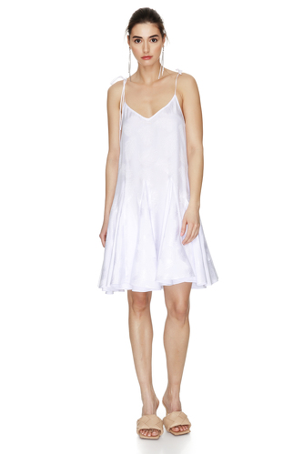 White Viscose Mini Dress With Straps - PNK Casual
