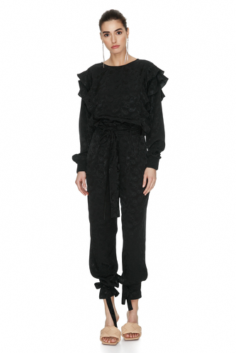Black Ruffled Top With Hidden Zipper - PNK Casual