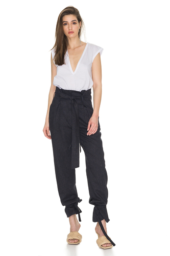 Tapered Linen Pants With Elasticated hemline - PNK Casual