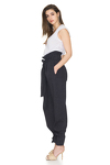 Tapered Linen Pants With Elasticated hemline