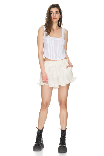 Cotton Off White Boho Shorts