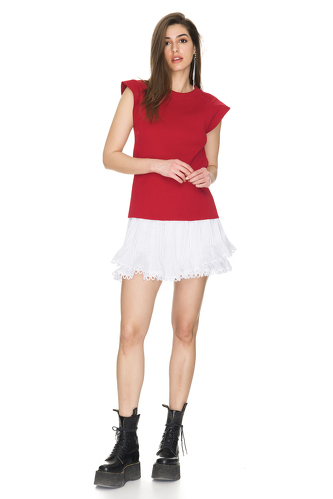 Ribbed Cotton Red T-shirt - PNK Casual
