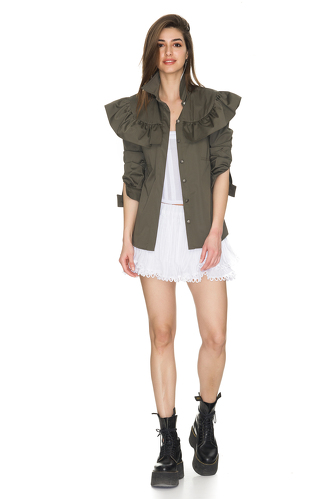 Kaki Jacket With Ruffled Front Detail - PNK Casual