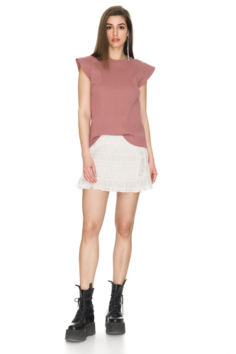 Ribbed Cotton Dusty Pink T-shirt - PNK Casual