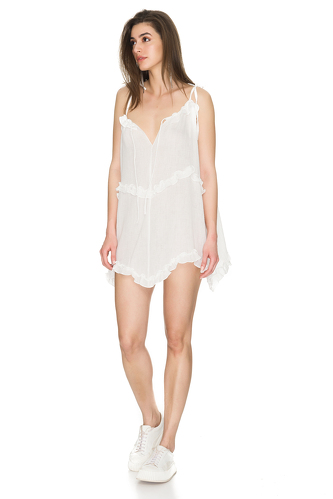 White Cotton Mini Dress With Straps - PNK Casual