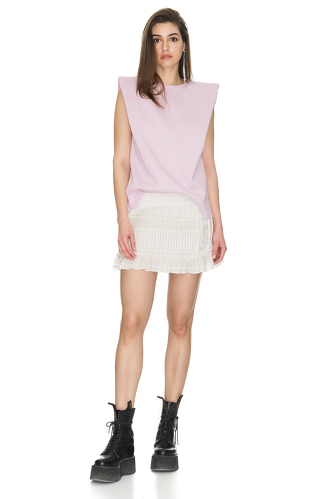 Lavender Ribbed Cotton Top With Oversized Shoulders - PNK Casual