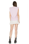 Lavender Ribbed Cotton Top With Oversized Shoulders