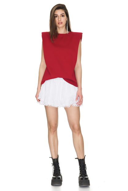 Red Ribbed Cotton Top With Oversized Shoulders