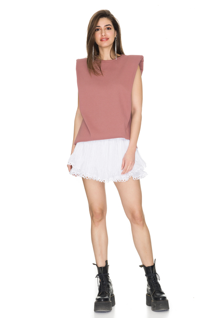 Dusty Pink Ribbed Cotton Top With Oversized Shoulders