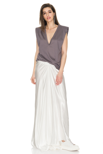 White Viscose Maxi Skirt - PNK Casual