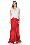 Red Viscose Maxi Skirt