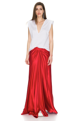 Red Viscose Maxi Skirt - PNK Casual