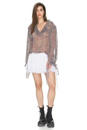 Linen White Shorts With Crocheted Hem - PNK Casual