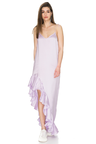 Lavender Asymmetrical Dress with Adjustable Straps - PNK Casual