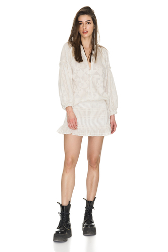Cotton Off-White Blouse With Oversized Sleeves - PNK Casual