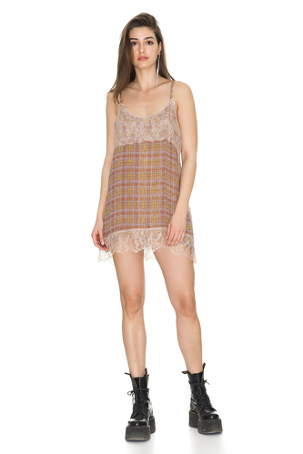 Light Brown Chantilly Silk Mini Dress - PNK Casual