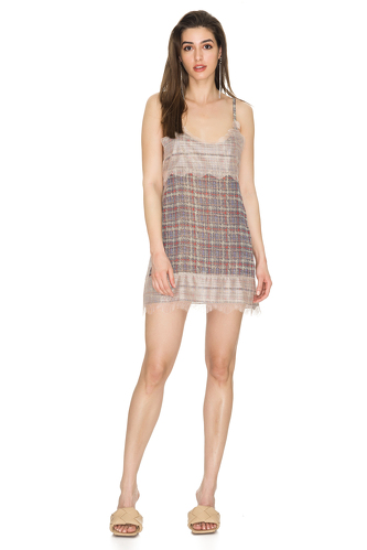 Light Grey Chantilly Silk Mini Dress - PNK Casual