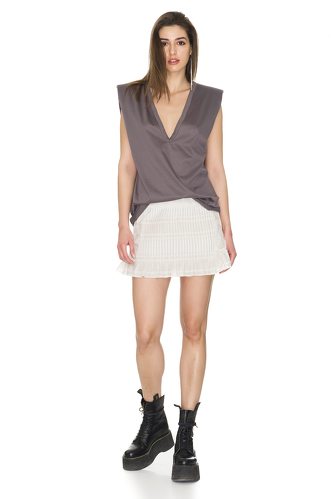 Off-White Cotton Mini Skirt - PNK Casual