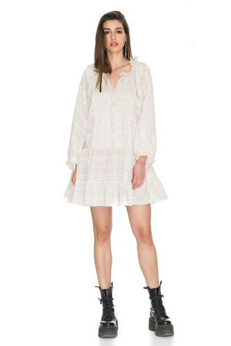 Oversized Off-White Cotton Mini Dress - PNK Casual