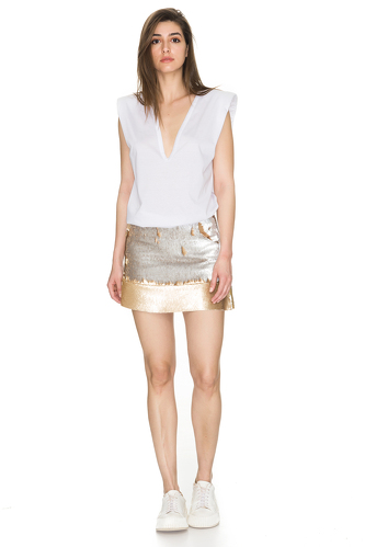 Gold-Silver Sequins Mini Skirt - PNK Casual