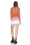 Brick-Orange Cotton Mesh Top