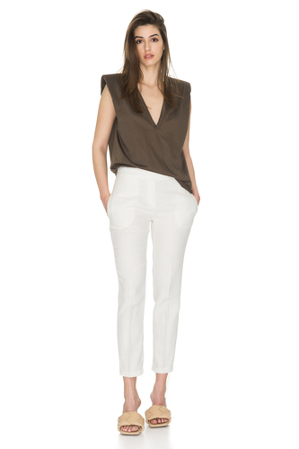 White Ramie-Viscose Blend Pants - PNK Casual