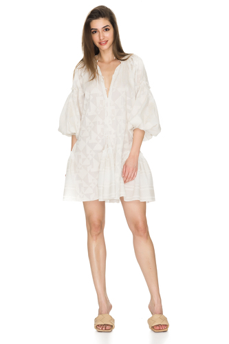 White Cotton Mini Dress - PNK Casual