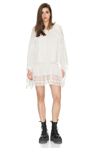 White Oversized Cotton Dress With Lace Insertions - PNK Casual