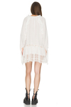 White Oversized Cotton Dress With Lace Insertions