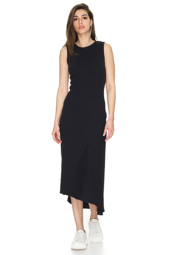 Asymmetrical Ribbed Cotton Midi Dress - PNK Casual