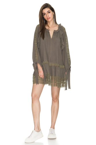 Kaki Oversized Cotton Dress With Lace Insertions - PNK Casual